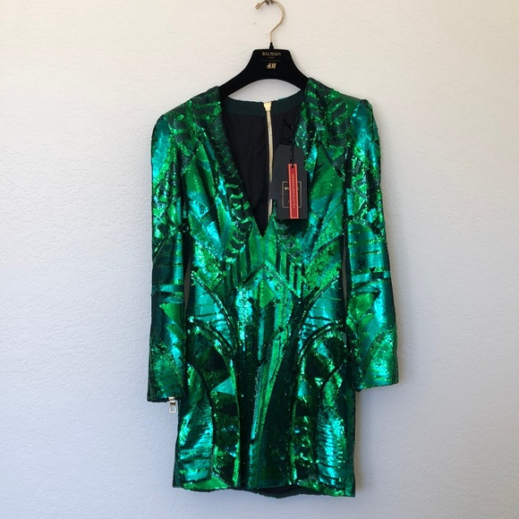 7768a0ff80e5b Balmain Dresses | X Hm Green Sequin Dress | Poshmark